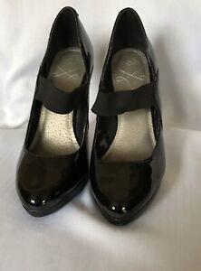 Wallis Women Black Patent Faux Leather Platform Heels Pump Shoes Size UK6(38)