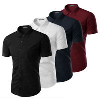 New Fashion Mens Luxury Casual Stylish Slim Fit Short Sleeve Casual Dress Shirts