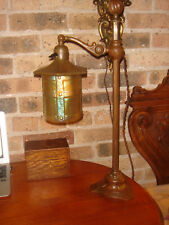 ANTIQUE J.E.CALDWELL BRONZE STUDENT PAGODA LAMP HANDEL SHADE TIFFANY STUDIOS ERA