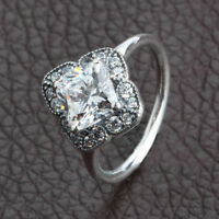 Authentic 925 Sterling Silver Crystalized Floral Fancy CZ Ring size 6 7 8 9