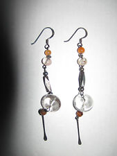 TRIBAL BEADED SILVER 925 DANGLY EARRINGS INDIAN AFRICAN Festival TRIBE NEW