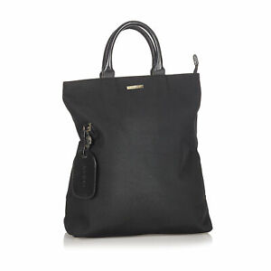 Pre-Loved Gucci Black Canvas Fabric Tote Bag Italy