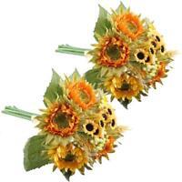 2 Packs Artificial Sunflowers Silk Plants Faux Wedding Bride Bouquet Home Decor