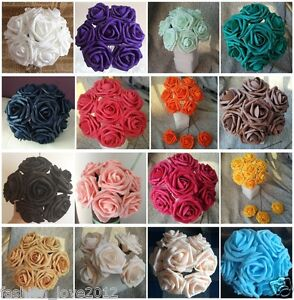 50pcs Artificial Foam Flowers Foam Roses For Wedding Arrangement Bridal Bouquet