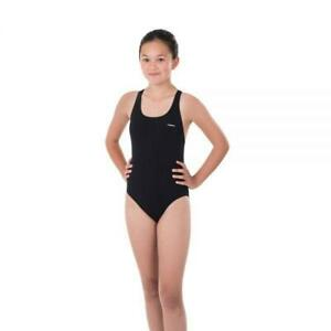Maru Girls Solid Pacer Open Back Swimming Costume (Black)