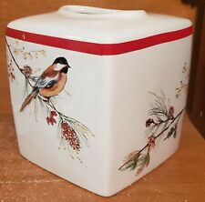 Lenox Winter Song Tissue Holder, Birds, Cube, New, New with tags