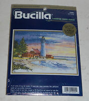 New Bucilla Cross Stitch Needlepoint Kit 42005 Safe Passage Lighthouse Beach 7x5