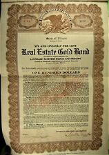 $100 Gold Real Estate Bond 1926, Lawndale Theatre Corp. Chicago.