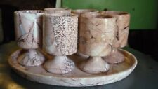 Vintage Pink Stone Carved Cordial Service-6 Goblets, Oval Tray- Excellent