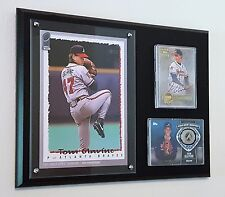 TOM GLAVINE CARDS & TOPPS 5X7 WALL ART DISPLAYED ON A 9X12 PLAQUE BRAVES AUTO