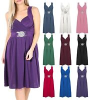 Womens Plus Size Buckle Dress Ladies Sleeveless Cross Wrap Over Evening Dress