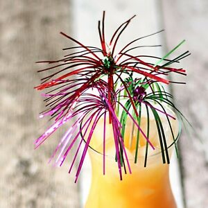 "Firework Foil  Cocktail Sticks 9 "" long Set of 24 -Multicoloured sparkle"