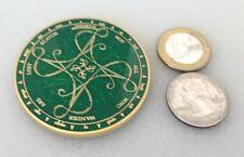 "☆☆ Tengwar NAWAL geocoin Tolkien Scavok VHTF Gold/Green Large 2"""
