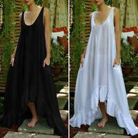 VONDA Women Oversized Loose Sleeveless Cotton Solid High Low Maxi Dress Sundress