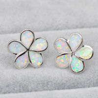 Elegant White Fire Opal 5 Petals Bloom Floral Stud Earrings 925 Sterling Silver