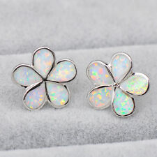 925 Sterling Silver Cute White Fire Opal 5 Petals Bloom Floral Ear Stud Earrings