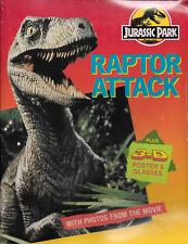 Vintage Jurassic Park Raptor Attack w 3D 3-D Poster & Glasses Sealed & New!