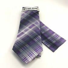 Stacy Adams Men's Tie & Hanky Set Purple Charcoal Silver Hand Made Microfiber