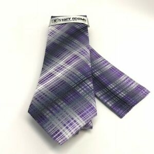 Stacy Adams Men's Tie & Hanky Set Purple Charcoal Silver Hand Made Microfiber