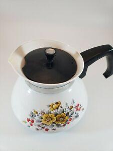 Vintage Corning Ware 6 Cup Coffee/Tea Pot Bantry Garden Flowers & Strawberries