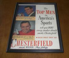 Chesterfield Cigarettes Framed Ad Print - Joe Di Maggio - Frankie Albert