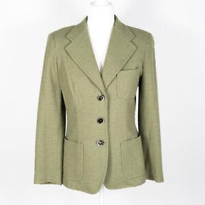 Max Mara Pure Cashmere Button-Up Blazer Jacket Olive Green 10
