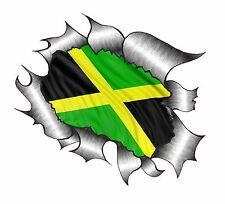 CLASSIC Ripped Open Torn Metal Rip & Jamaica Jamaican National Flag Car sticker