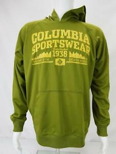 Columbia Sportswear Spellout Hoodie Sweatshirt Green/Yellow Men's Medium