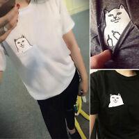 Fashion Pocket Cartoon Cat Women Summer Short Sleeve Casual T-shirt Blouse Top N