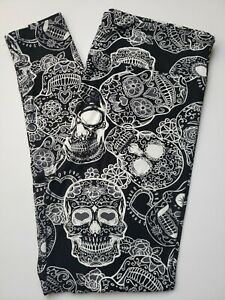 Lularoe Henna Sugar Skulls TC Leggings Day Dead Halloween White Black Gray NWOT