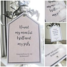 """Personalised """"Will you be my Bridesmaid"""" crystal gift tag any wording WEDDING"""