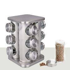 12 Pièce tournante en verre bocal à épices Rack Set Cuisine Home Cooking Chef Food NEUF
