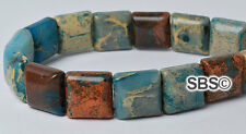 Impression Jasper 10x10mm 2-Hole Square Stone Beads (approx. 16 inch strand)