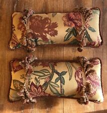 Fashion on 5th rectangle throw pillow tassel rust green trim Jacobean Floral