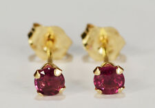 BEENJEWELED GENUINE NATURAL MINED PURPLE SAPPHIRE EARRINGS~ 14 KT YLW GOLD~3MM