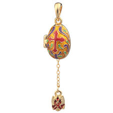 Faberge Egg Pendant / Charm with Cross & Doubleheaded Eagle 2.4 cm #0009-33