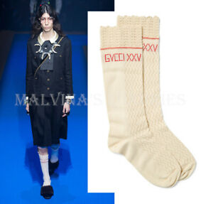 GUCCI DRESS SOCKS KNITTED COTTON CROCHET SCALLOP TOP EMBROIDERED LOGO $390 sz M