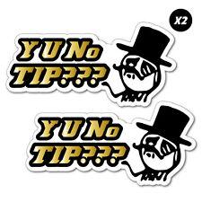2x Y U No Tip Meme Jar Bartender Sticker Decal Funny Vinyl Car Bumper #7467EN