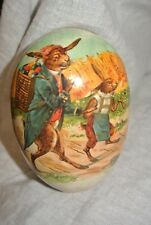 Vintage Made in Germany paper mache egg Easter bunny with eggs