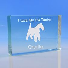 More details for  fox terrier dog lover gift personalised engraved quality glass paperweight