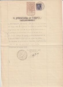 LIBYA , Document with  Revenue Stamp 1945
