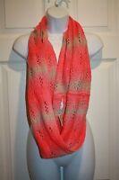 American Eagle AEO Bright Vibrant Pink Tan Crochet Infinity Scarf NWT NEW
