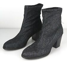 Women's Boots w/ Silver Sparkle Glitter Shoes Black Size 6-10 New