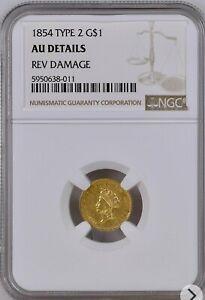 1854 $1 Liberty Gold Type 2 NGC AU DETAILS