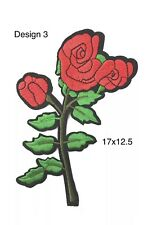 Red Roses Patches Iron On / Sew On Embroidered Rose Flower Patch Badge