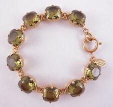 Catherine Popesco 14k Gold Plated Large Khaki Swarovski Crystals Bracelet