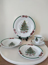 Christmas in the Park Porcelain Ware Holiday Plates, Bowl, Cup & Saucer Setting