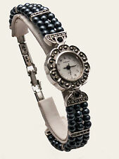ST.BERNARD:WOMEN'S ANTIQUE MARCASITE/PEARL SILV. FINISH CASE ANALOG QUARTZ WATCH
