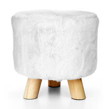 3-legged Decorative Round Faux Fur Stool - LIVINGbasics™