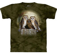 Three Owl Moon Green 3 Owls Bird Nature T-Shirt Mountain Animal Cotton 2X